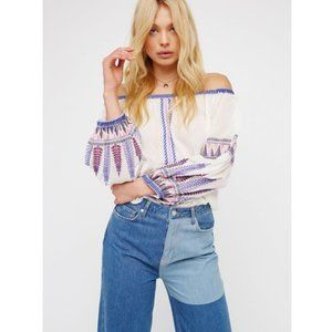 """FREE PEOPLE """"Dream On"""" Embroidered Peasant Top S"""